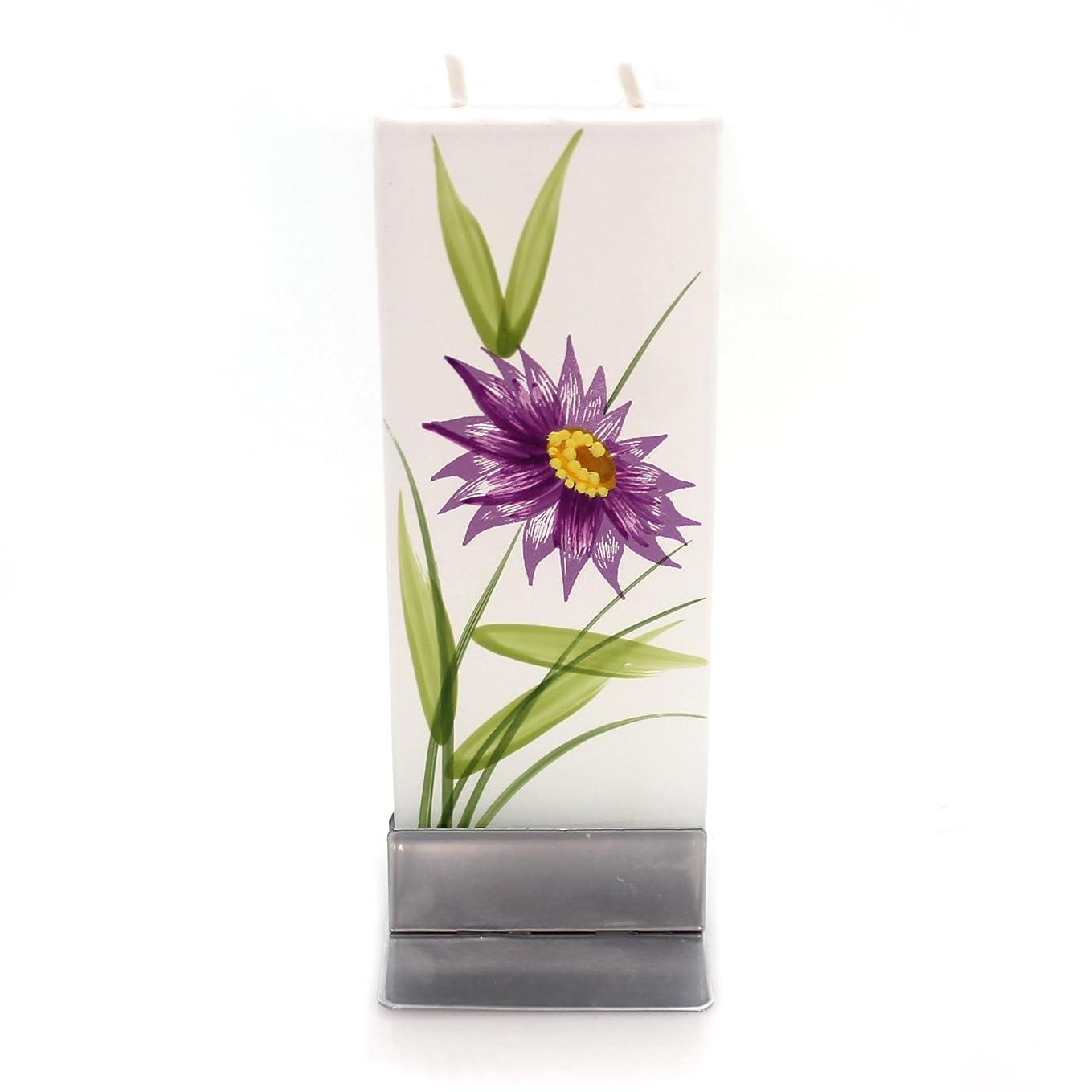 マスタード仕方特定のホームデコレーションパープル花W /イエローCentre Dripless Fragrance Free Candle f1640