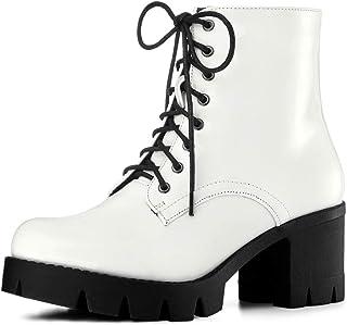 Allegra K Women's Platform Chunky Heel Combat Boots