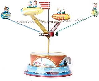 LoveinDIY Vintage Spinning Carousel Spaceship Merry GO Round TIN Toy Collectible Gift