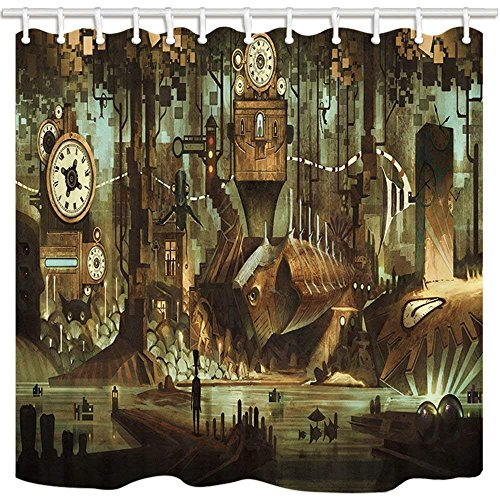steampunk science fictions Afagahahs Science Fiction Shower Curtain Machinery Clock Steampunk Steel Industrial City Polyester Fabric Waterproof Bathroom Shower Curtain Set with Hooks
