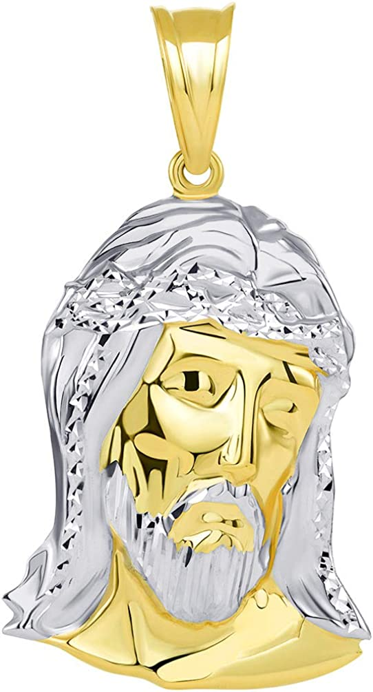 14k Yellow Gold Polished Two Tone Hollow Jesus Head Pendant, 42mm x 23mm