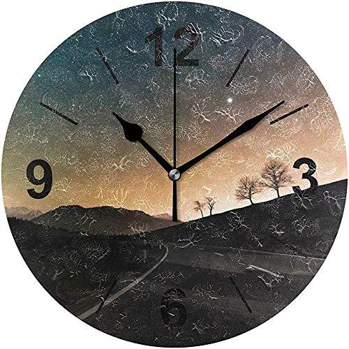 L.Fenn Wandklok rond sky road nachtster dawn atmosfeerdiameter silent decoratief voor home kantoor keuken slaapkamer