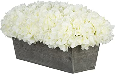 House of Silk Flowers Artificial Hydrangeas in Grey-Washed Wood Ledge (White)