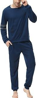 Aiboria Mens Pajama Set Cotton Pajamas PJ Set Long Sleeve Top & Pants for Man Sleepwear Loungewear Nightwear