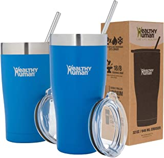 Healthy Human Insulated Stainless Steel Tumbler Travel Cruiser Cup with Straw and Lid 20 oz Bahama
