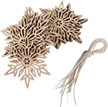 PIXNOR Wooden Christmas Embellishments With String Christmas Decoration Snowflake Pendant Pack Of 10