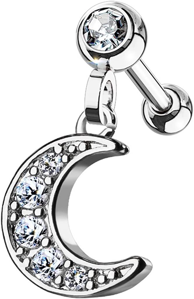 Pierced Owl 16GA Stainless Steel CZ Crystal Paved Crescent Moon Dangling Cartilage Tragus Barbell Stud