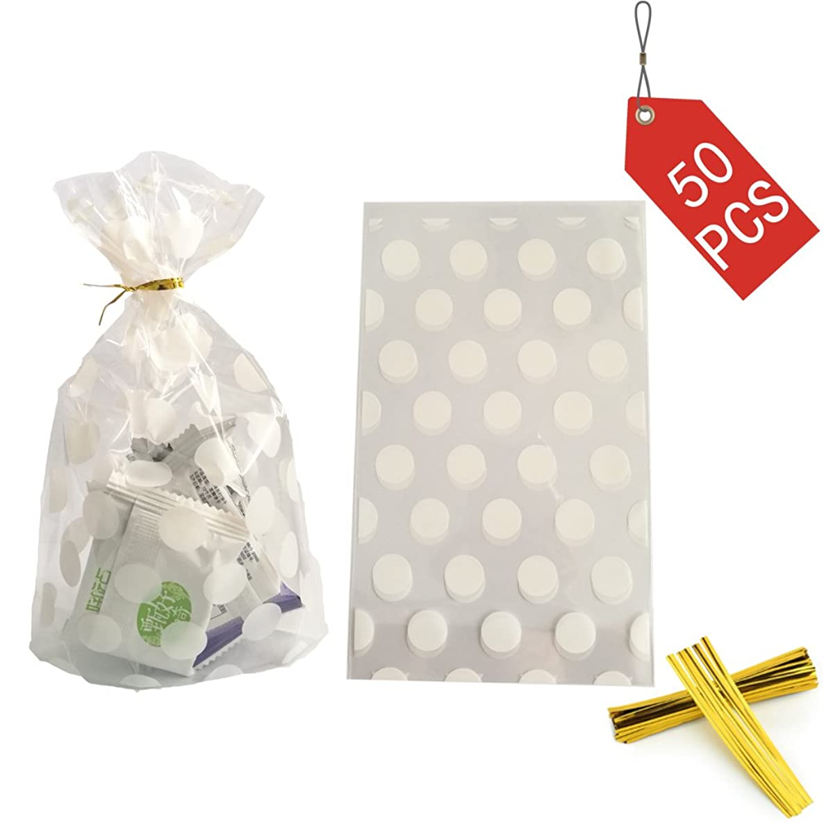 Clear Cello Bags Candy Cookie Treat Plastic Bag White Dot Cellophane party favor bags with Twist Ties for Wedding,Bridal Shower,Birthday,Baby Shower,celebration party supplies decorations,50pcs