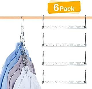 HOUSE DAY 6 Pack Metal Magic Hangers Space Saving Hangers Closet Space Saving Wardrobe Clothing Hanger Oragnizer, Updated Hook Design