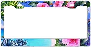 Hibiskus Floral Tropical Palm Aluminium Metall Kennzeichenrahmen Tag mit Chrom Schraubkappen – Kfz Kennzeichenabdeckung für US Fahrzeuge