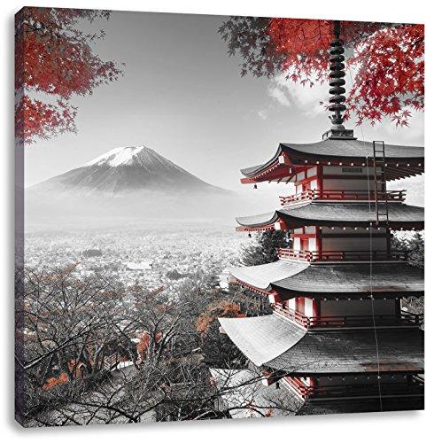 Pixxprint Japanischer Tempel im Herbst Schwarz/Weiß, Format: 70x70 auf Leinwand