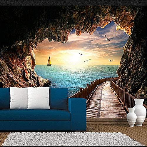 RCIFGU Fotomural para Pared 3D Cueva puente de madera soleado paisaje marino Fotomural Autoadhesivo Pared Mural Vinilo Decorativo Decoración comedores, Salones, Habitaciones 250x175cm