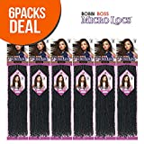 Bobbi Boss Synthetic Hair Crochet Braids African Roots Braid Collection Micro Locs 18' (6 - Pack, M1B/DGREEN)