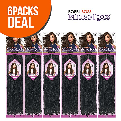 Bobbi Boss Synthetic Hair Crochet Braids African Roots Braid Collection Micro Locs 18' (6 - Pack, 27)