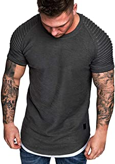 Plain Tees for Men, Workout Muscle Pleated Sleeve Longline T-Shirts Summer Sport Stylish Short Sleeve O-Neck Tops by Leegor