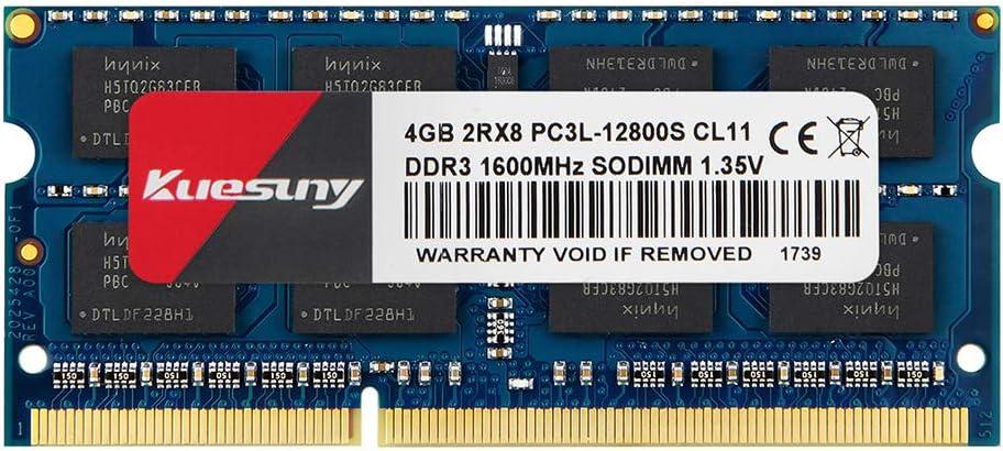 Kuesuny 4GB DDR3L 1600MHz PC3L-12800 PC3-12800S Unbuffered Non-ECC 1.35V/1.5V CL11 2Rx8 Dual Rank 204 Pin SODIMM Laptop Memoria Upgrade Kit for Intel AMD Mac