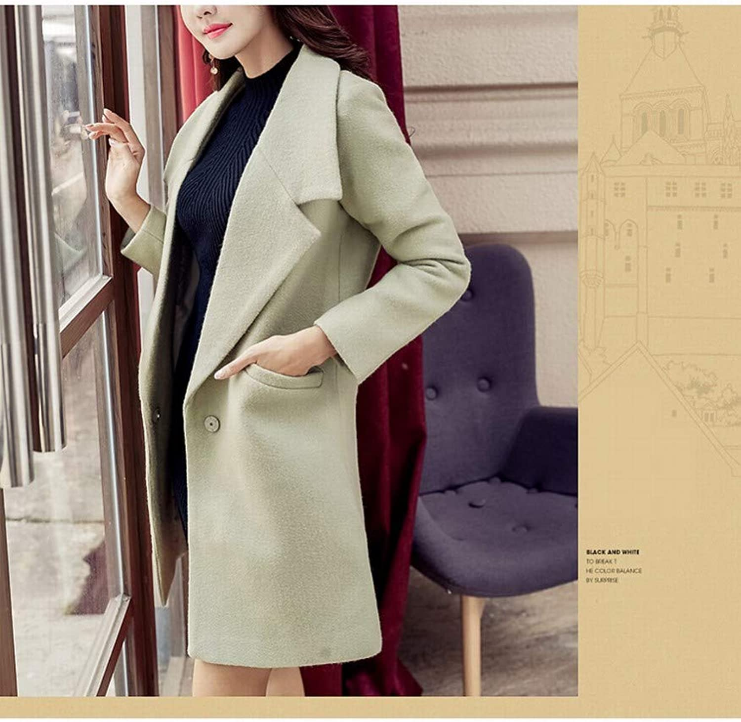 Coat Jacket, Woolen Coat, Autumn and Winter Women's Long Slim Woolen Coat, Solid color Nizi Fashion Coat PLLP