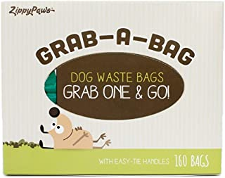 ZippyPaws - Dog Poop Pick-Up Bags, Pop-Up Dispensing Box, Large Strong Waste Bags with Easy-Tie Handles, Measures 14.5 Inch by 5.5 Inch - 160 Count