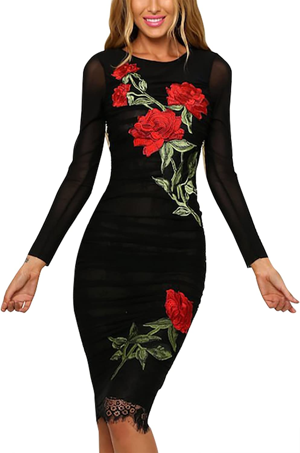 YOINS Women Party Package Hip Midi Dress pink Embroidery Long Sleeves Black