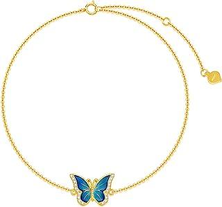 Sponsored Ad - Real 14k Gold Blue Butterfly Anklet for Women, Solid 14 Karat Gold Animal Lover Ankle Bracelet Jewelry Gift...