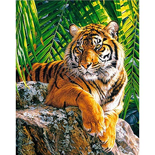Yminng Full Square/Round Drill 5D DIY New Diamond Painting Animal Tiger 3D Rhinestone Embroidery Cross Stitch 5D Decor Gift - 20x30cm