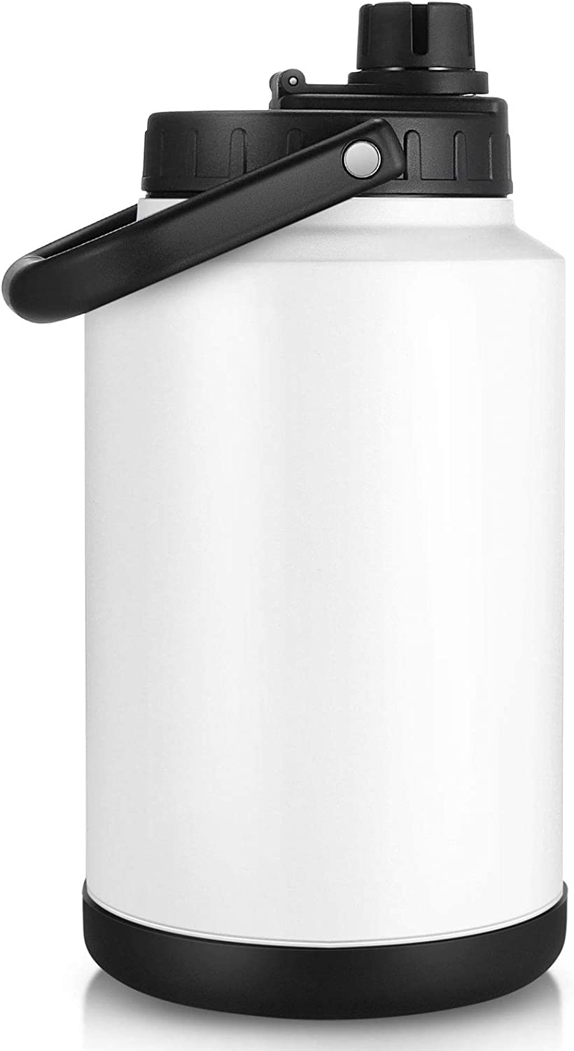 Sursip One Gallon Vacuum Insulated Jug,Double-Walled 18/8 Food-grade Stainless Steel 128oz Water Bottle,Hot/Cold Thermo,Travel/Camping/Sports/Outdoor/Driving Choice(White)