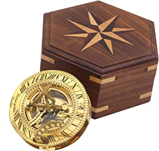 Roorkee Instruments India Sundial Compass with Compass Rose Box/Ideas for Men/Vintage Shinny Brass Compass with Wooden Box/Directional Magnetic Compass for Navigation/Sundial Compass