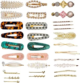 31 Pieces Pearls and Acrylic Resin Hair Clips, Marble Alligator Glitter Crystal Hairpins Headwear StylingTool for Women Girls