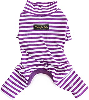 Hdwk&Hped Soft Cotton Dog Pajamas for All Seasons, Striped Pet Bottoming Jumpsuit Bottoming Dress 2 Styles for Small Dog Cat Puppy