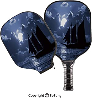 3D Print Graphite Pickleball Paddle Set,Sail Boat on Sea at Dark Night Dramatic Sky Full Moon Unknown Waters Decorative Pop Carbon Fiber Large Lightweight Top Professional Power Outdoor Rackets for Me