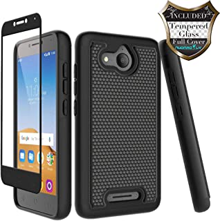 Alcatel Tetra Case with [Tempered Glass Screen Protector] Nuomaofly Rugged Heavy Duty Shock-Absorption Protective Case for Alcatel Tetra (Black)