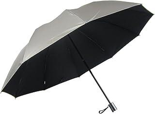 男性用の日傘 UV99% カット 2段式折りたたみ 大きいサイズ 丈夫な10本骨 表シルバー (黒)