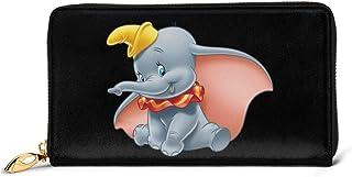 KJKT Dumbo Wallet RFID Bloqueo Cartera de Cuero Genuino Cremallera Alrededor Portatarjetas Organizador Embrague