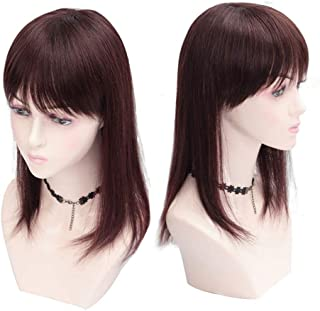 "Human Hair Clip In Topper With Bangs Straight Crown Wiglet for Women With Thinning Hair 12"" Dark Brown"