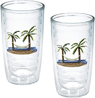 """TERVIS Tumbler, 16-Ounce, """"Palm Trees and Hammock"""", 2-Pack , Clear - 1035967"""
