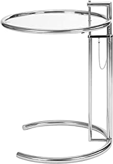SHISEDECO Eileen Gray/Grey End Table Silver, Metal Adjustable Height Side Table with Tempered Circle Glass Top and Stainless Steel Tublar Frame for Firm & Durability, Sofa Side Table (Sliver 1 Set)