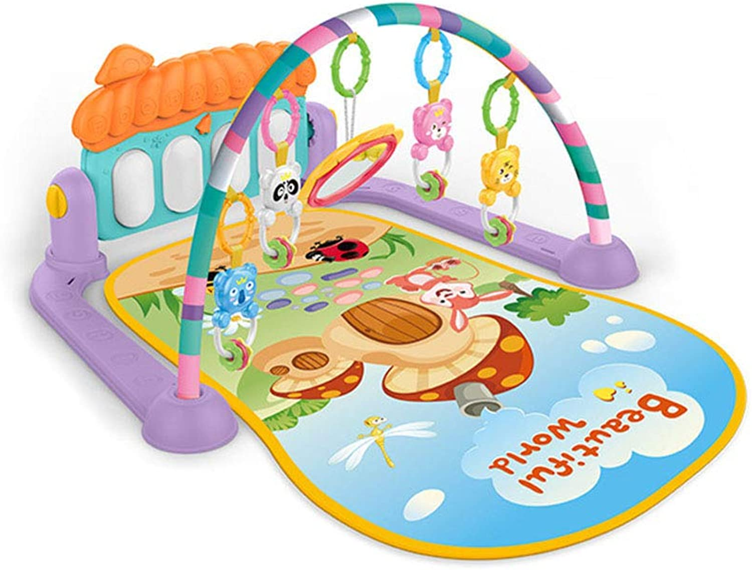 Baby Activity Gym Play Mat Kick and Play Piano Music Fitness Rack Game Carpet Crawling Mat for 0-6 Months Baby Newborn
