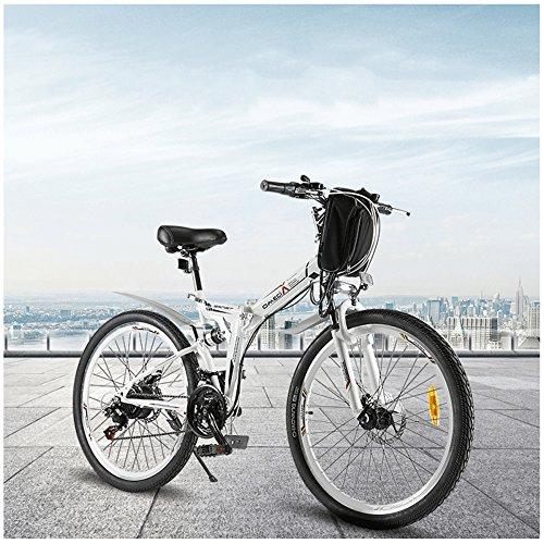 GTYW Bicicletta Elettrica Pieghevole Bicicletta Da Montagna Ciclomotore Elettrico Maschio 350W 48V * 26 \'Doppia Sospensione Bobon Bahrain Unità Batteria Doppia Frenata