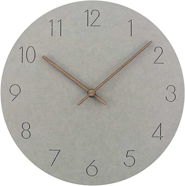 Timelike Wooden MDF Wall Clock Simple Modern Clocks Silent Non Ticking Round Quartz Clocks For Home Decor A Light Grey