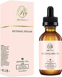 ROSVANEE Serum Retinol para Cara 60ml - Alta Dosis con 2.5% Retinol ácido hialurónico Vitamina C y E Suero Facial Antie...