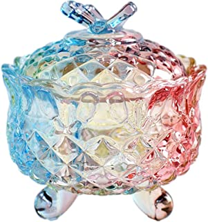Danmu 1Pc of Lead Free Colorful Glass Candy Dish Storage Jar with Lid Cookie Jar Jewelry Box Buffet Jar Biscuit Container 300ML