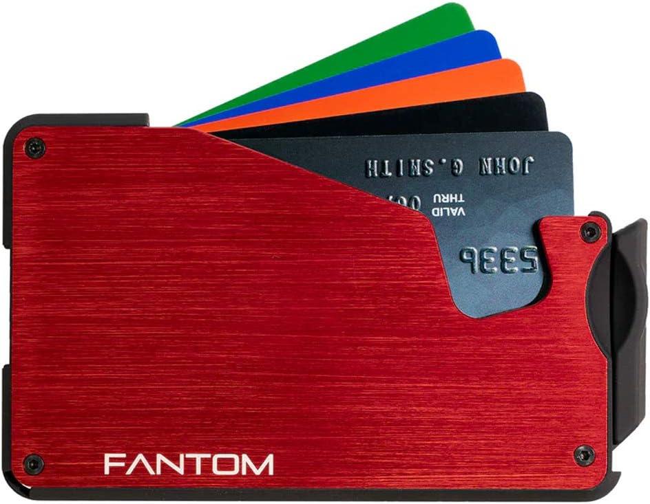 Fantom Wallet S 7 Red Slim Minimalist RFID Aluminum Wallet with Coin Holder