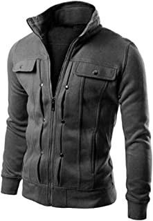 TTOOHHH Mens Casual Autumn Winter Long Sleeve Zipper Jacket Baseball Coat Outwear Jacket Top