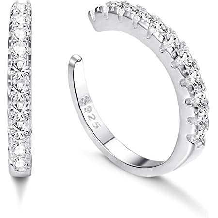 Milacolato 925 Sterling Silver CZ Pave Ear Cuffs Orecchini a Cerchio Piccoli per Donna Orecchini con Zirconi Cubici Huggie non Piercing