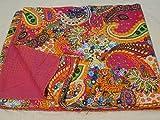Tribal Asian Textiles Kantha Decke/Überwurf, handgefertigt, Paisleymotiv, mehrfarbig, Kingsize 229 x 274 cm, Tagesdecke, 005