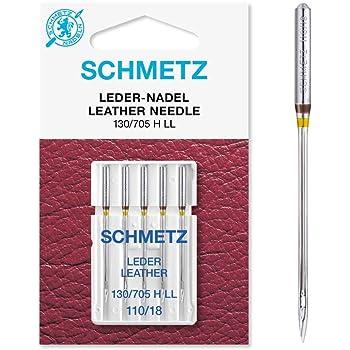 Schmetz 5 agujas de piel para máquina de coser (pistón plano) 130 ...