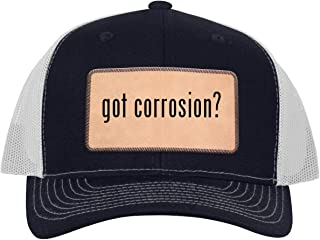 One Legging it Around got Corrosion? - Leather Light Brown Patch Engraved Trucker Hat
