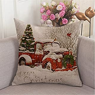 HL HLPPC Red Truck Tree Christmas Sofa Decoration Pillow Cover 18X18 Inches