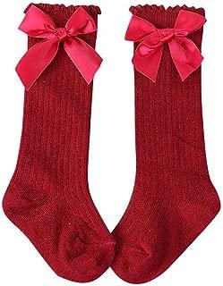 Baby Girls Socks Children Toddlers Kids Infant Cotton Knee High Long Soft Big Ribbon Bow Kniekousen Sock