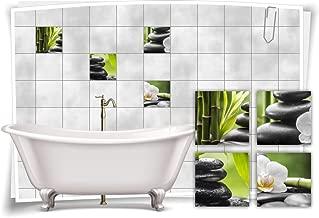 Fliesenaufkleber Fliesenbild Fliesen Wellness Kerzen Deko Aufkleber SPA Bad WC